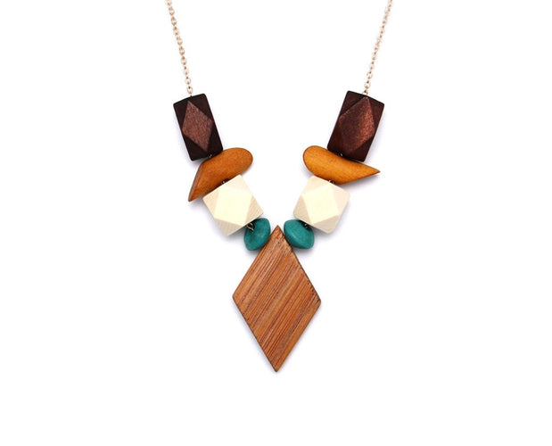 Trendy Wooden Geometric Necklace