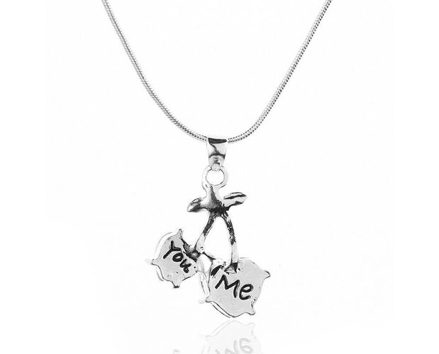 You And Me Engraved Heart Necklace