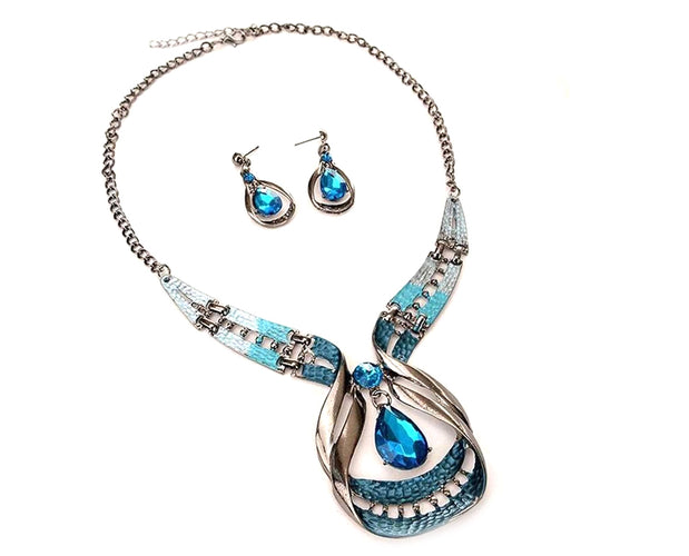 Blue Wave Crystal Droplet Statement Necklace & Teardrop Earrings