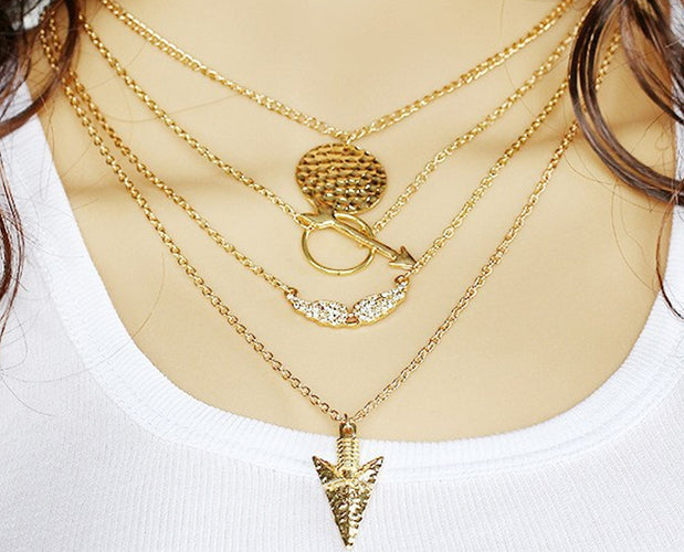 Multilayer arrow Point bib necklace