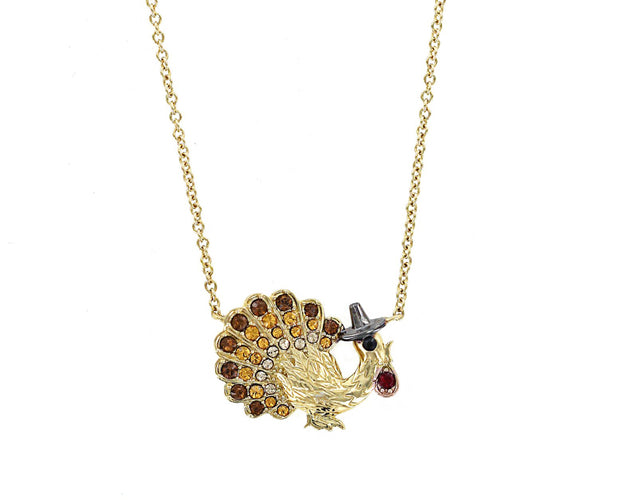 Jeweled Thanksgiving Turkey Necklace