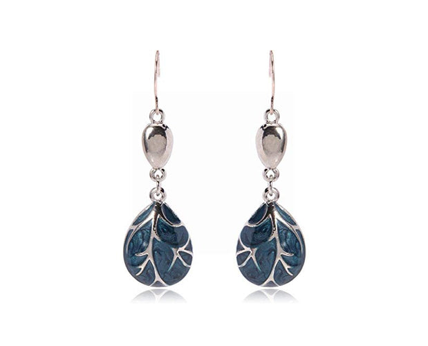 Silver Branch Teardrop Earrings