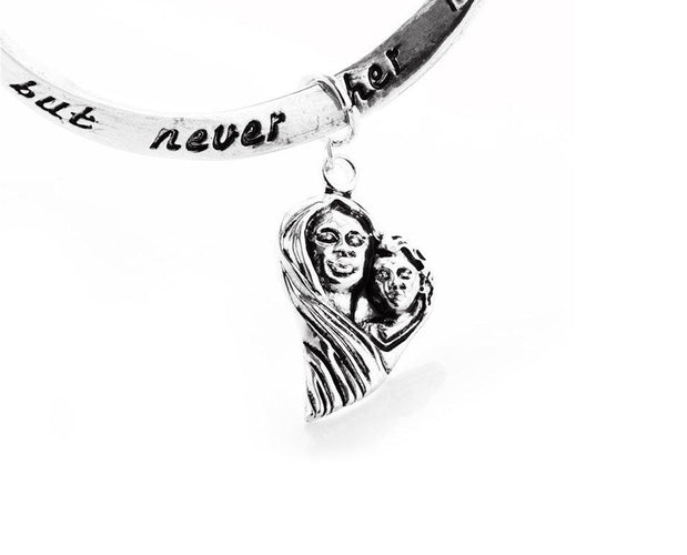 Mother and Child Sculptured Charm Bangle