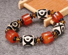 Carnelian and Hand Painted Bead Bracelet
