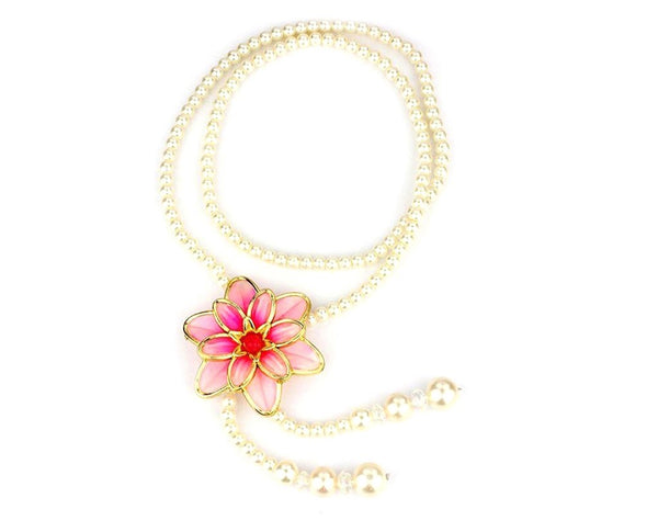 Floral Pink and Pearl Long Necklace