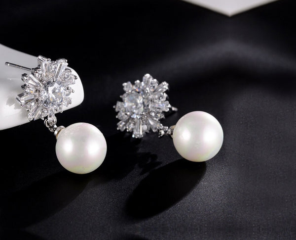 Rhinestone and Pearl Drop Earrings