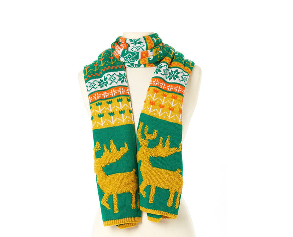 Woodland Reindeer Knit Scarves Forest Green