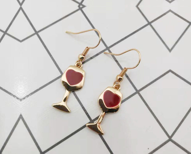 Wine Glass Hooked Earrings