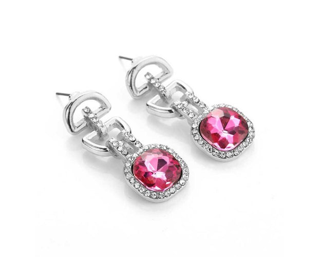 Pink Geometric Drop Earrings