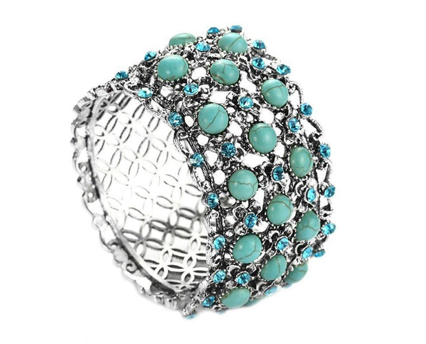 Regal Turquoise Beaded Bracelet