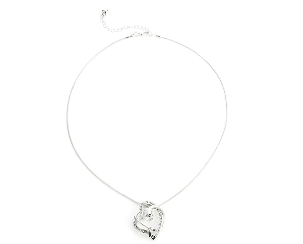 Rhinestone Drop Heart Necklace