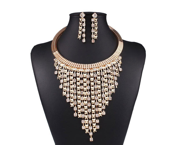 Rhinestone Rainfall Choker Necklace Dangle Earring Set