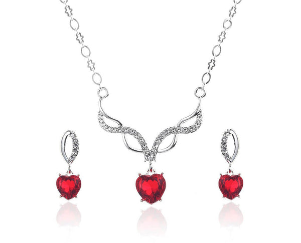 INFINITE LOVE CRYSTAL HEART DROP NECKLACE SET