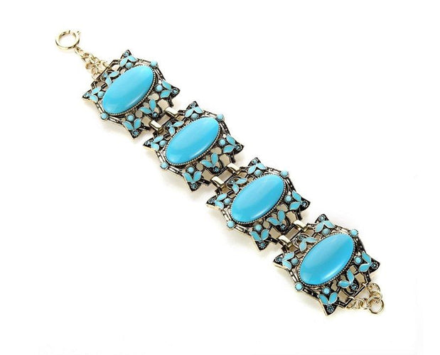 Vintage Blue Acrylic Charm Party Bracelet