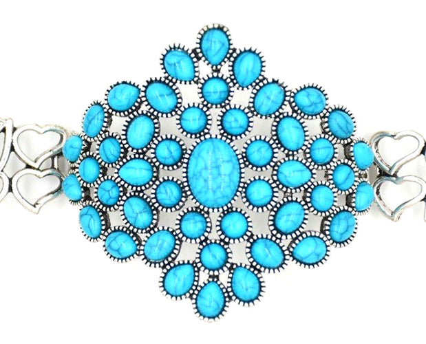 Blossoming Flower Turquoise Cuff