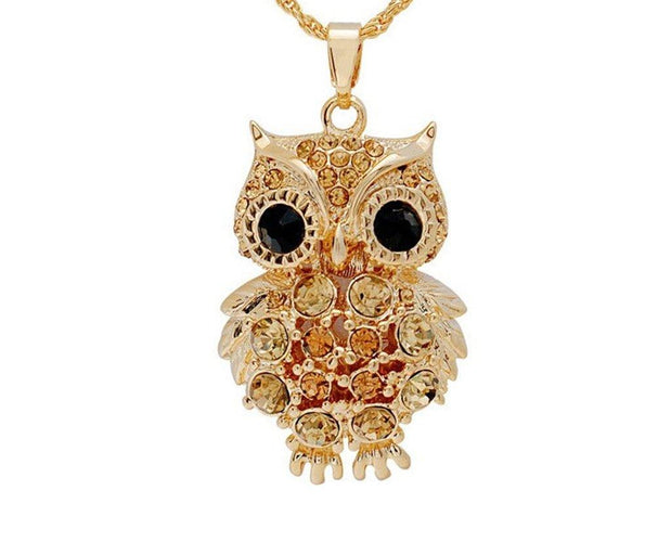 Strigiformes Inspired Rhinestone embedded Classy Pendants with long chain