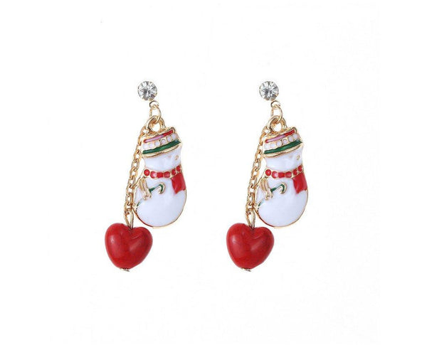 Snowman Heart Drop Earrings