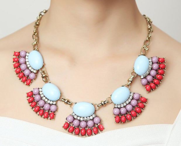 Coral Mauve Fan Boho Vibes Necklace Set
