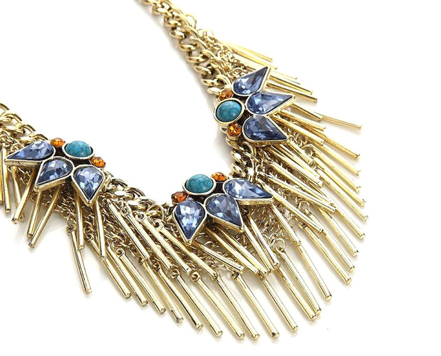 Tribal Inspired Metal Tassel Necklace
