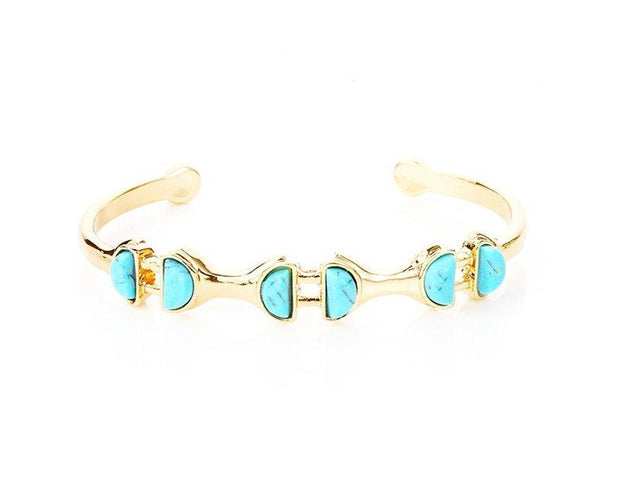 Turquoise Semicircular Patterned Interlinked Bracelet for women