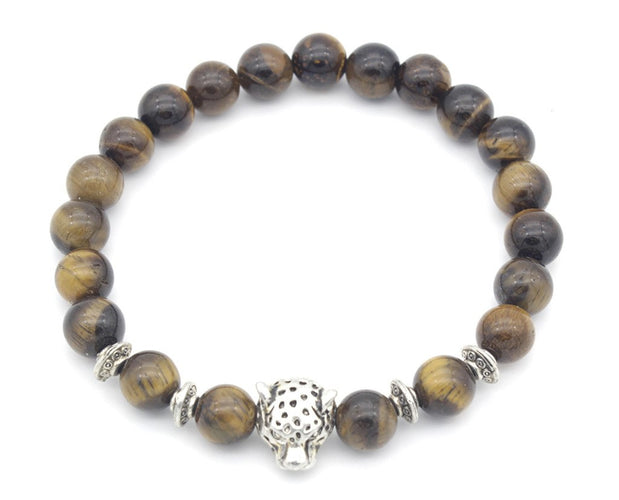 Panther Head Centered Tiger Eye Beads Bracelet