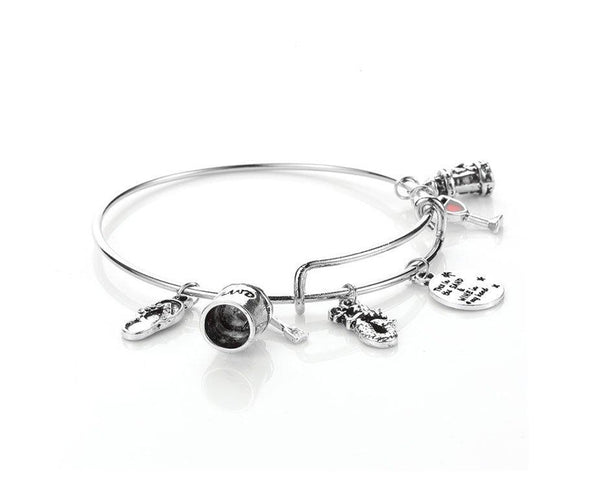 Toes in the Sand Wine in Hand Charm Bracelet