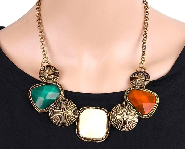 Antique Style Amazing Multicolored Statement Necklace