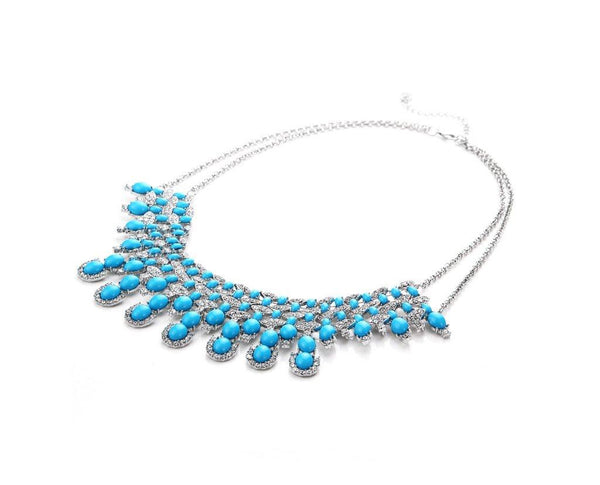 Dazzling Blue Crystal Decorated Chic Neckpiece