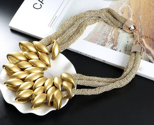 Silky Golden Statement Necklace