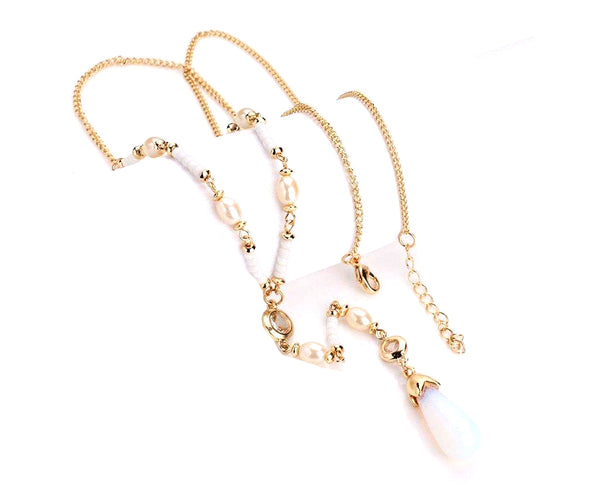 Luna Shell Pearl Lux Long Chain Necklace
