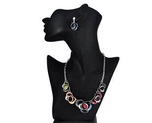 Abstract Enameled Floral Necklace Set