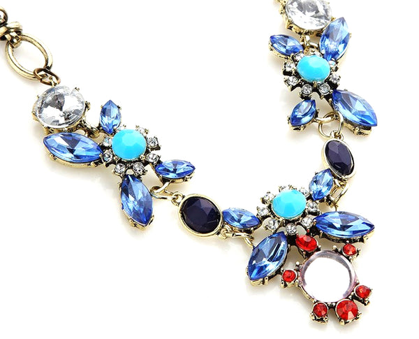 Pacific Aqua Coral Geometric Flower Power Chic Statement Necklace