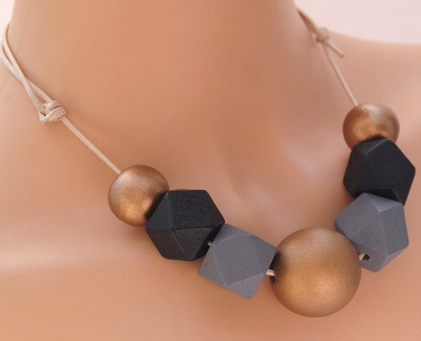 Vintage Wooden Polygon- shaped block beads elite Neckpiece