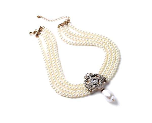 Elite Brooch Styled Multilayered Beaded Necklace