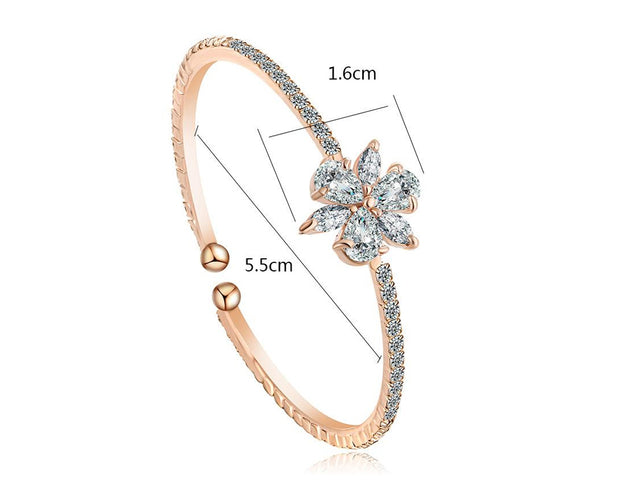 Princess Sphere Cut Diamond Rose Gold Bangle
