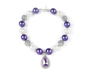 Albaster and Periwinkle Charm Bead Necklace with Faceted Crystal hanging