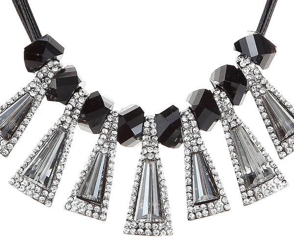 Jet and Rhinestone Statement Necklace Sales