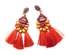 Colorful Rhinestone And Tassel Earrings