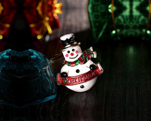 Miniature Snowman Christmas Brooch