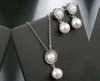 Globular Pearl-inspired Droplet Pendant with Earrings