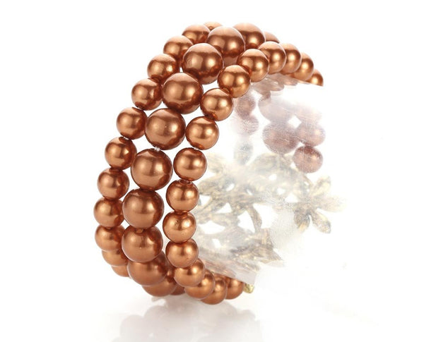 Rhinestone and Pearl Flexible Cuff Bracelet