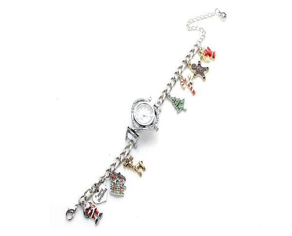 Merry Christmas Silver Analog Watch