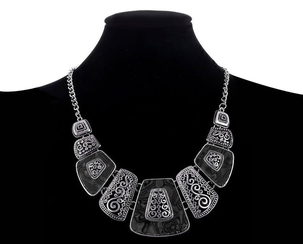 Black Gold Marble Bohemian Statement Necklace
