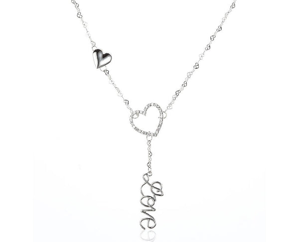 Love Heart Chain Necklace With Initial and Birthstone