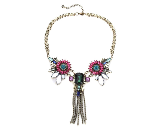 Fuisica Emerald Windflower Tassel Statement Necklace
