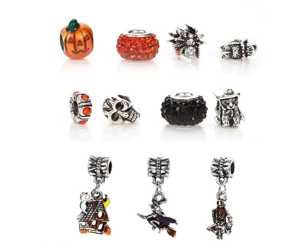 Halloween Charm Bracelet With Initial And Birthstone