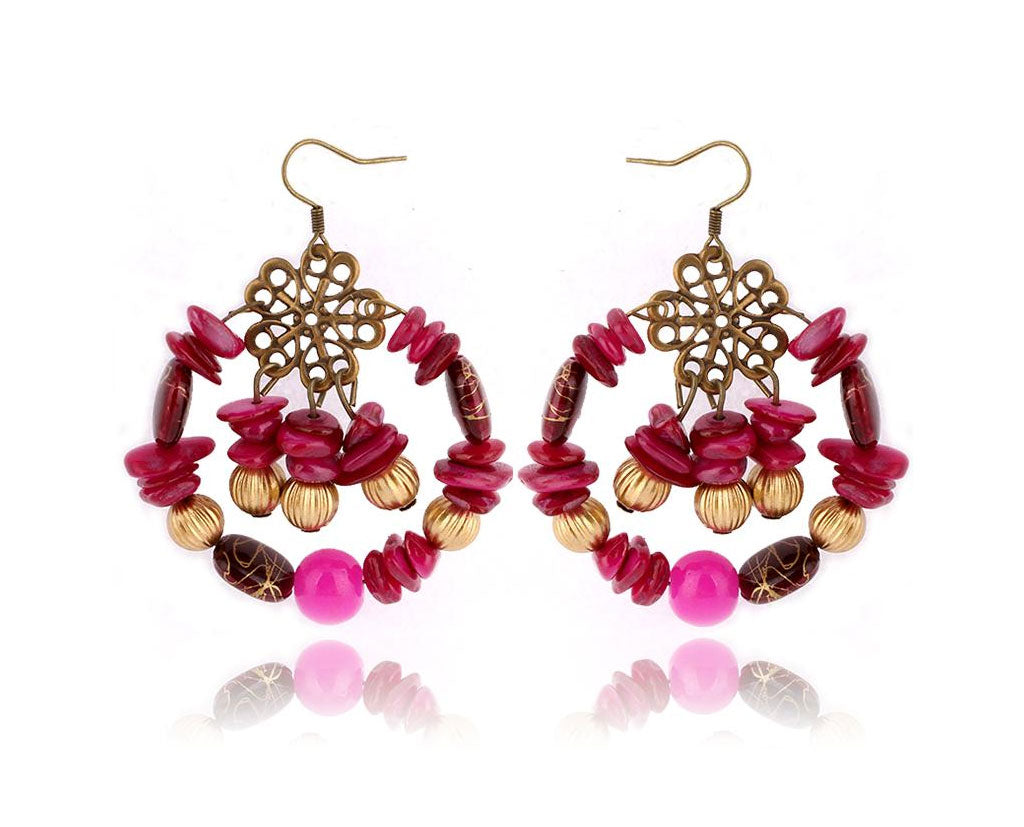 Fuchsia Boho Vibe Hoop Earrings
