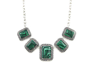 Malachite Rectangular Statement Necklace