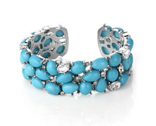 Turquoise and Rhinestone Encrusted Cuff