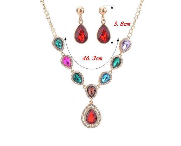 Embellished Drop Style Crystal Necklace